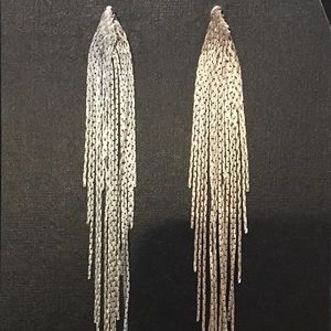 Asymmetrical Metal Tassel Earrings